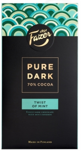Fazer Pure Dark 70% Cocoa Twist of Mint Schokolade, 95 g
