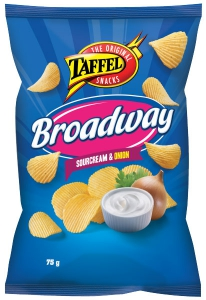 Taffel Broadway Sour Cream & Onion Kartoffelchips Sauerrahm & Zwiebel, 75 g