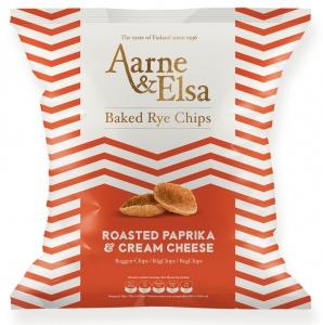 Aarne & Elsa Baked Rye Chips Roasted Paprika & Cream Cheese, 150 g