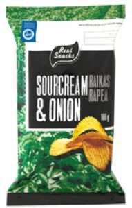 Real Snacks Chips Sour Cream & Onion, 100 g